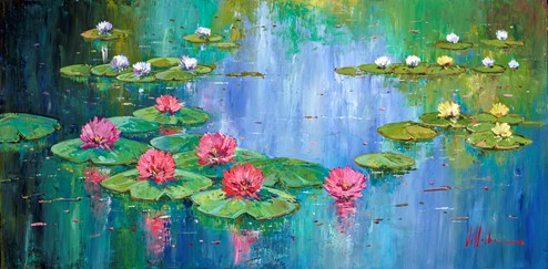 Pink Lilies by Villalba - Varnished Original Painting on Box Canvas